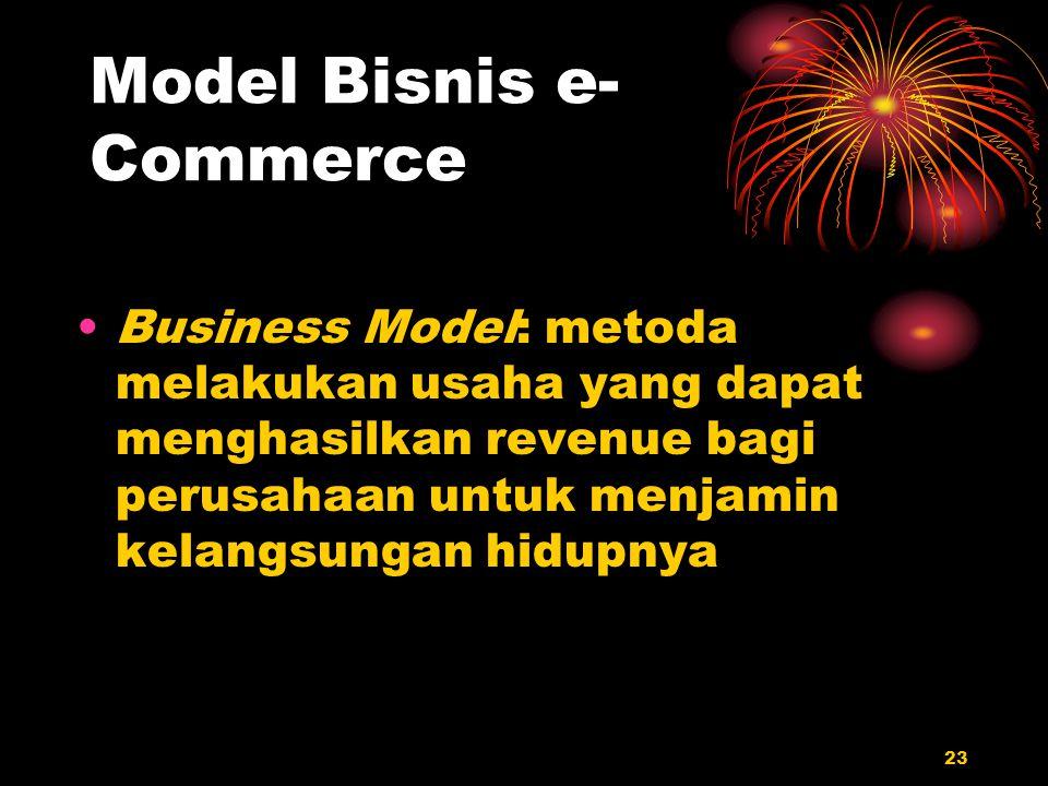23 Model Bisnis e- Commerce Business Model: metoda melakukan usaha yang dapat menghasilkan revenue bagi perusahaan untuk menjamin kelangsungan hidupny