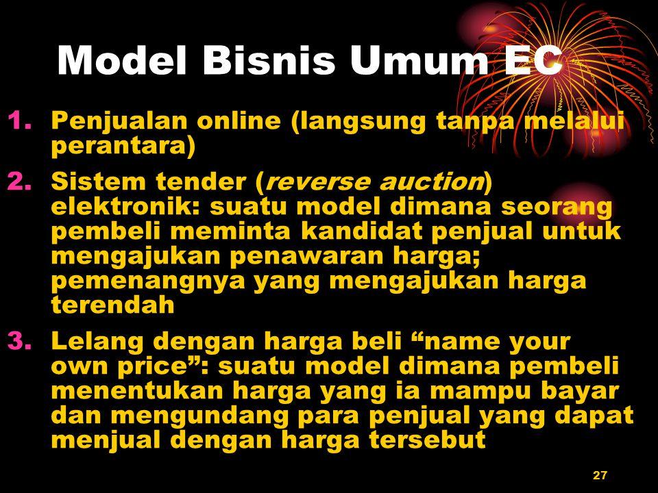 27 Model Bisnis Umum EC 1.Penjualan online (langsung tanpa melalui perantara) 2.Sistem tender (reverse auction) elektronik: suatu model dimana seorang