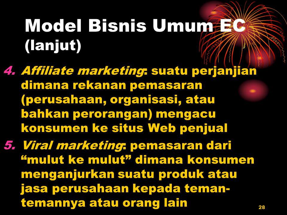 28 Model Bisnis Umum EC (lanjut) 4.Affiliate marketing: suatu perjanjian dimana rekanan pemasaran (perusahaan, organisasi, atau bahkan perorangan) men