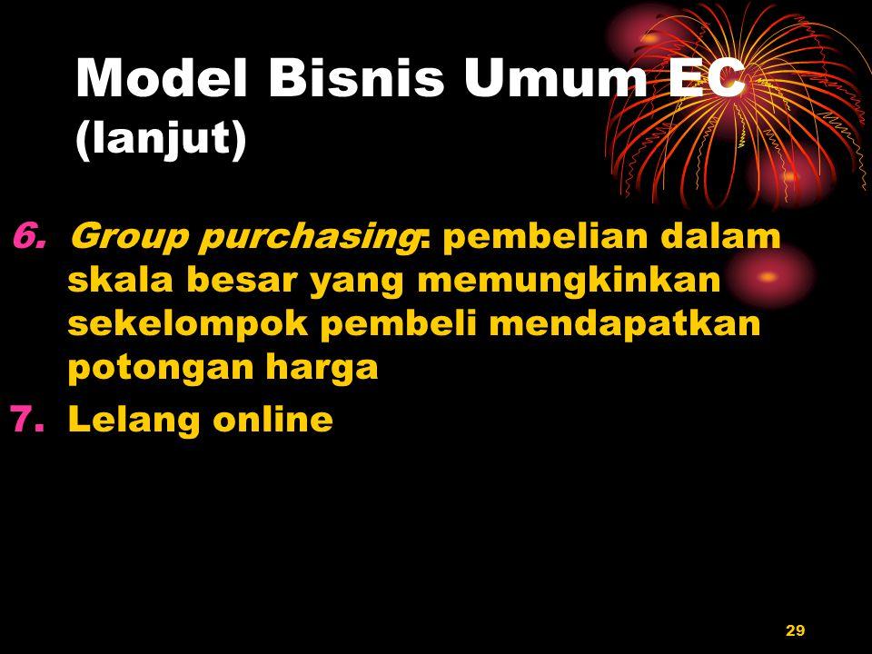 29 Model Bisnis Umum EC (lanjut) 6.Group purchasing: pembelian dalam skala besar yang memungkinkan sekelompok pembeli mendapatkan potongan harga 7.Lel