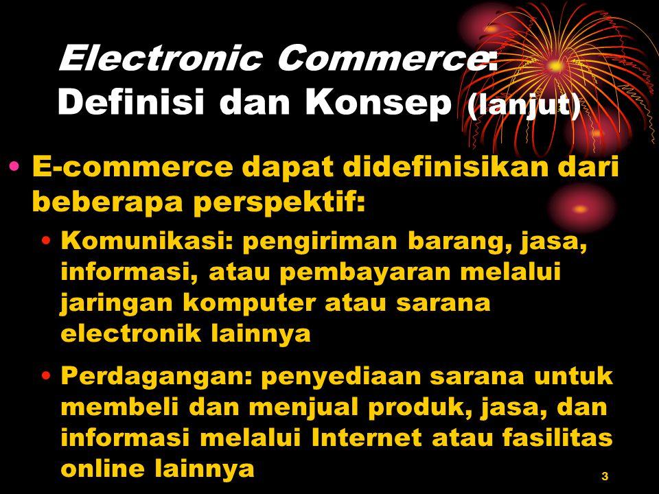 3 Electronic Commerce: Definisi dan Konsep (lanjut) E-commerce dapat didefinisikan dari beberapa perspektif: Komunikasi: pengiriman barang, jasa, info