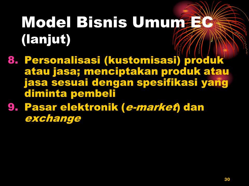 30 Model Bisnis Umum EC (lanjut) 8.Personalisasi (kustomisasi) produk atau jasa; menciptakan produk atau jasa sesuai dengan spesifikasi yang diminta p