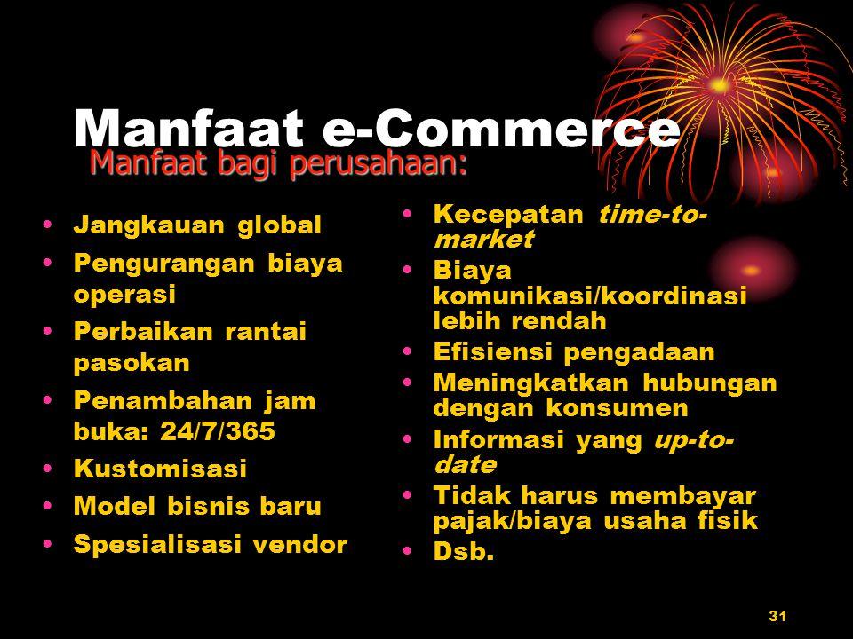 31 Manfaat e-Commerce Jangkauan global Pengurangan biaya operasi Perbaikan rantai pasokan Penambahan jam buka: 24/7/365 Kustomisasi Model bisnis baru