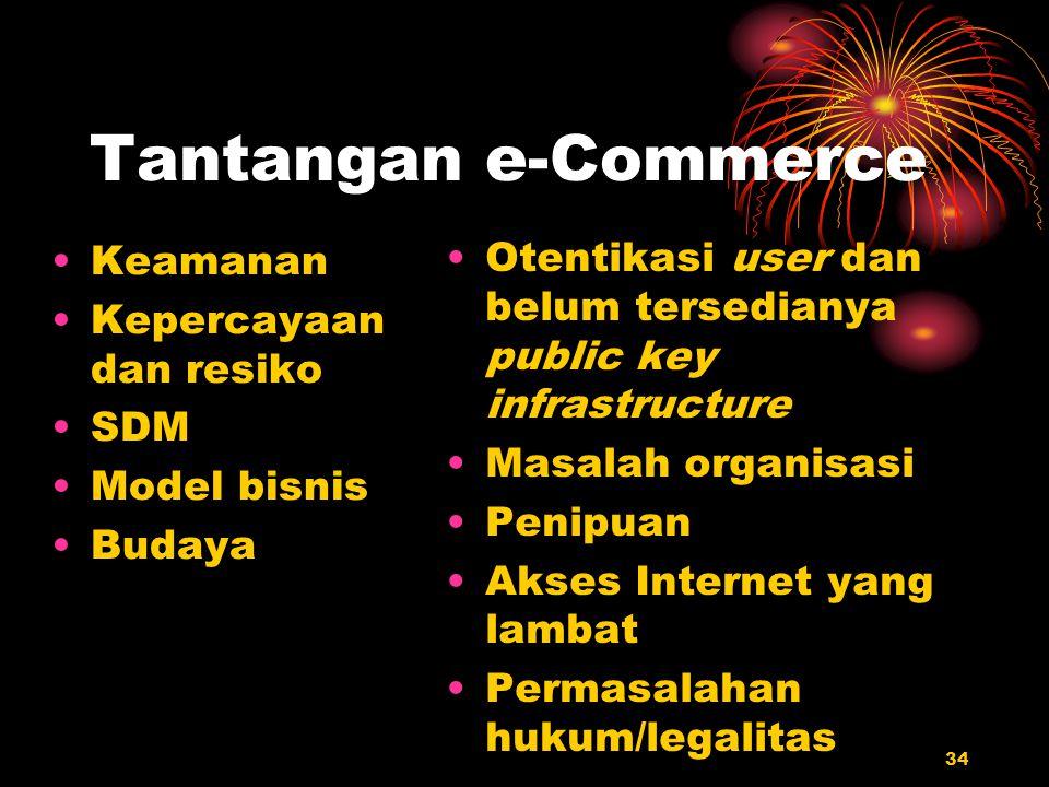 34 Tantangan e-Commerce Keamanan Kepercayaan dan resiko SDM Model bisnis Budaya Otentikasi user dan belum tersedianya public key infrastructure Masala