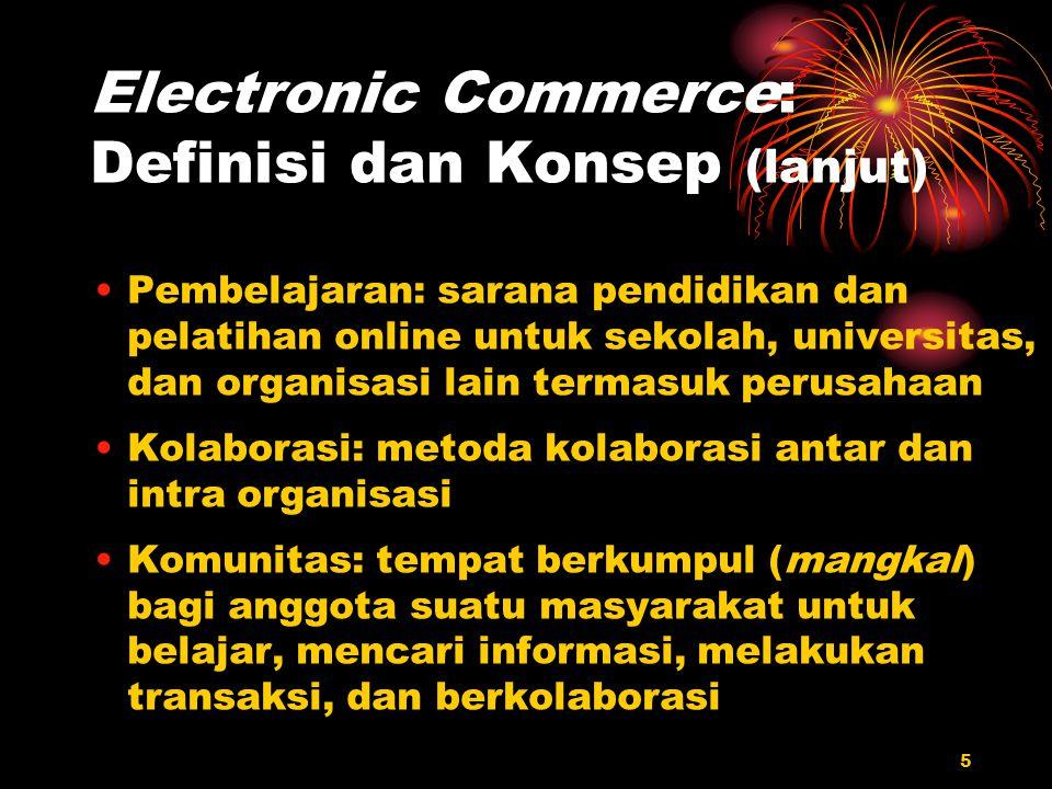 5 Electronic Commerce: Definisi dan Konsep (lanjut) Pembelajaran: sarana pendidikan dan pelatihan online untuk sekolah, universitas, dan organisasi la