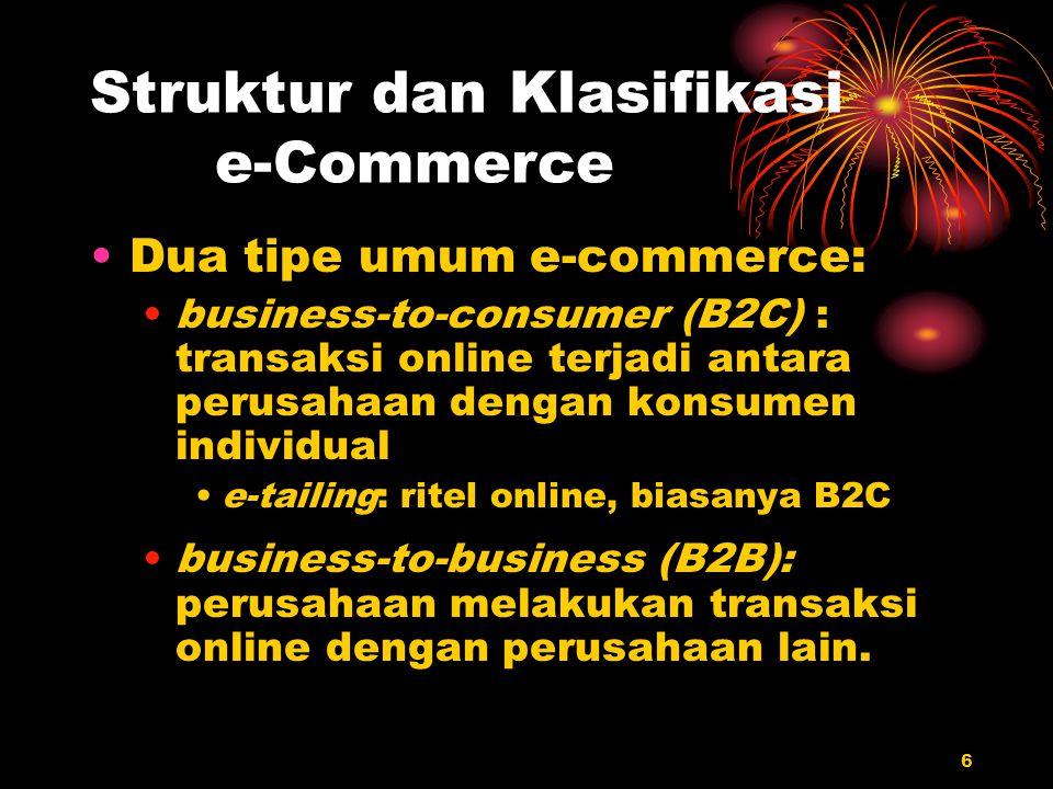 6 Struktur dan Klasifikasi e-Commerce Dua tipe umum e-commerce: business-to-consumer (B2C) : transaksi online terjadi antara perusahaan dengan konsume