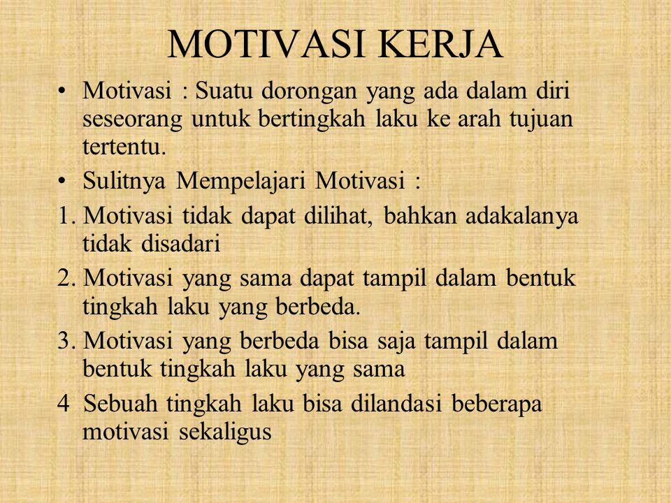 MOTIVASI KERJA Motivasi : Suatu dorongan yang ada dalam diri seseorang untuk bertingkah laku ke arah tujuan tertentu. Sulitnya Mempelajari Motivasi :