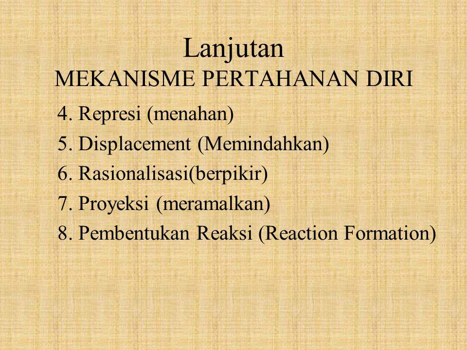 Lanjutan MEKANISME PERTAHANAN DIRI 4. Represi (menahan) 5. Displacement (Memindahkan) 6. Rasionalisasi(berpikir) 7. Proyeksi (meramalkan) 8. Pembentuk