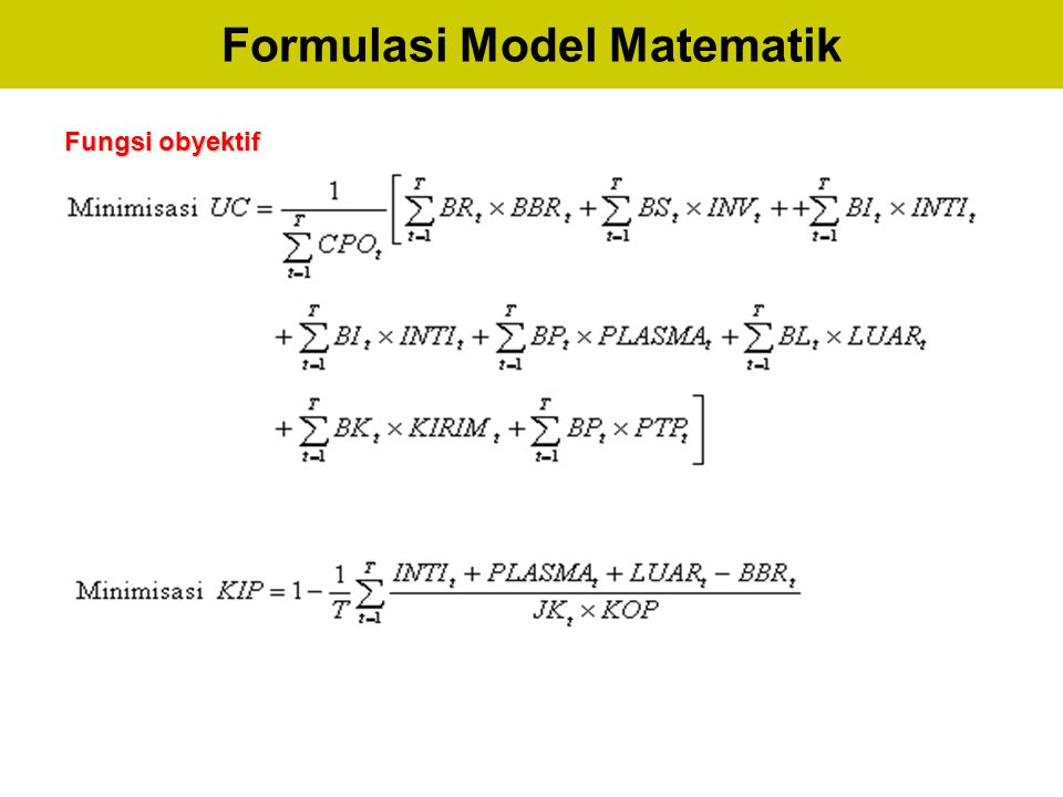 Formulasi Model Matematik Fungsi obyektif