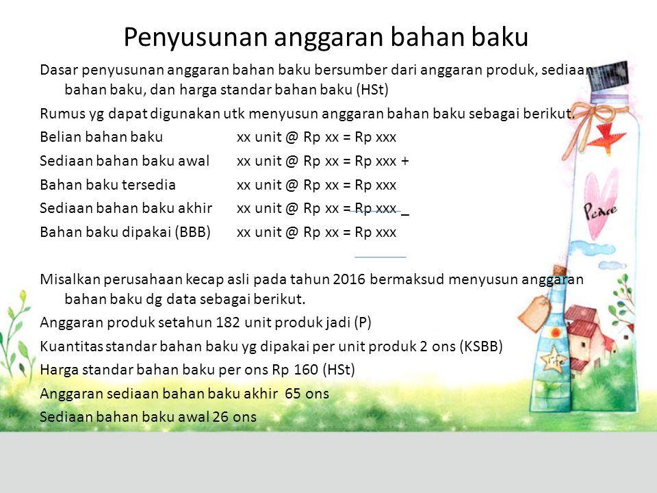 Sediaan bahan baku akhir (SBBX) dalam kuantitas (ons) diperoleh dari perhitungan sebagai berikut.
