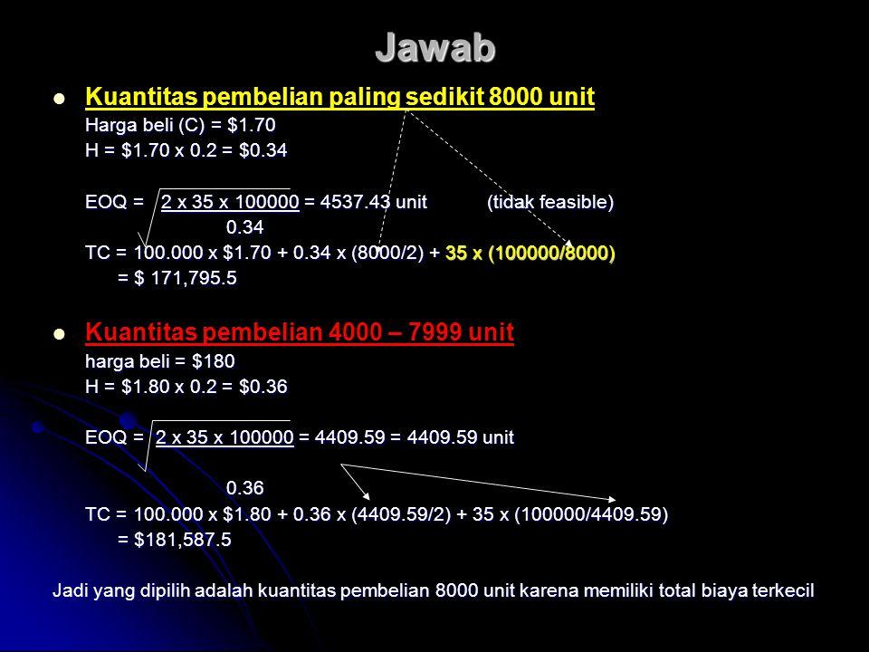 Jawab Kuantitas pembelian paling sedikit 8000 unit Harga beli (C) = $1.70 H = $1.70 x 0.2 = $0.34 EOQ = 2 x 35 x 100000 = 4537.43 unit (tidak feasible) 0.34 TC = 100.000 x $1.70 + 0.34 x (8000/2) + 35 x (100000/8000) = $ 171,795.5 = $ 171,795.5 Kuantitas pembelian 4000 – 7999 unit harga beli = $180 H = $1.80 x 0.2 = $0.36 EOQ = 2 x 35 x 100000 = 4409.59 = 4409.59 unit 0.36 TC = 100.000 x $1.80 + 0.36 x (4409.59/2) + 35 x (100000/4409.59) = $181,587.5 = $181,587.5 Jadi yang dipilih adalah kuantitas pembelian 8000 unit karena memiliki total biaya terkecil