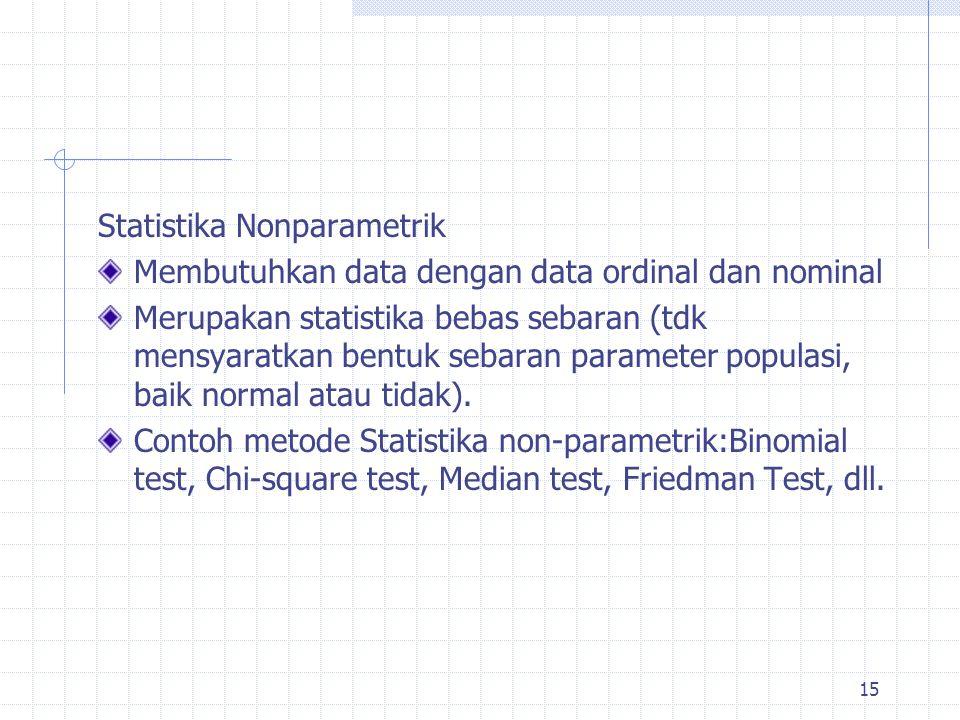 Statistika Nonparametrik Membutuhkan data dengan data ordinal dan nominal Merupakan statistika bebas sebaran (tdk mensyaratkan bentuk sebaran paramete