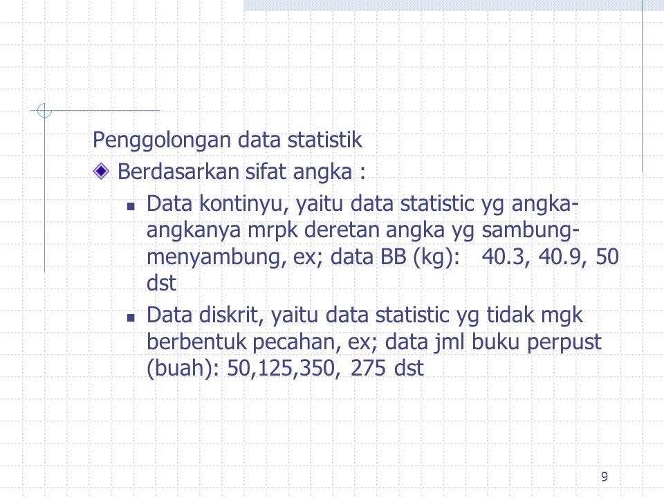 Berdasarkan cara menyusun angkanya : Data nominal, yaitu data statistic yg cara menyusunnya didasarkan pada klasifikasi tertentu, ex; Jml mahasiswa PBiologi 2009/2010 menurut tingkat dan jenis kelaminnya Data ordinal/urutan, yaitu data statistic yg cara menyusun angkanya didasarkan pada urutan/ranking, Ex: Hasil nilai statistik berdasarkan ranking Data interval, yaitu data statistic dimana terdapat jarak yg sama di antara hal-hal yg sdg diteliti 10