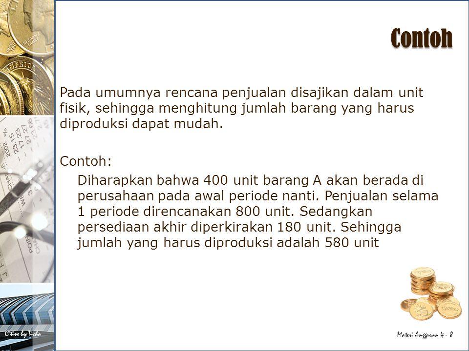 C'tive by Ticha Materi Anggaran 4 - 9 Cara menghitung Penjualan 800 unit Persediaan Akhir 180 unit + Kebutuhan 980 unit Persediaan Awal 400 unit - Produksi 580 unit