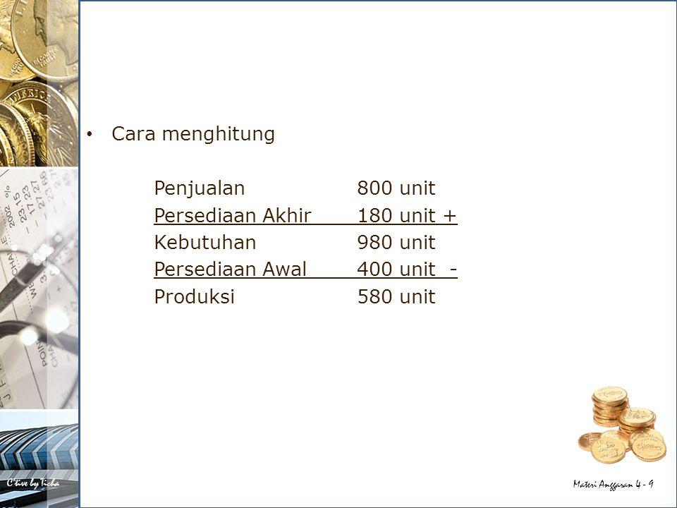 C'tive by Ticha Materi Anggaran 4 - 30 Apabila kebutuhan akan barang/bahan setiap bulannya tidak sama, maka dipakai metode rata- rata bulanan yang bergerak: Contoh: Kebutuhan bulanan: Januari1.200 unitApril1.200 unit Februari 600 unitMei1.800 unit Maret 900 unit Kebutuhan bulanan dengan rata-rata bergerak: Feb: (1.200 + 600 + 900) / 3 = 900 Maret: (600 + 900 + 1.200) / 3 = 900 April: (900 + 1.200 + 1.800) / 3 = 1.800 Apabila perusahaan menentukan 2 bulan kebutuhan maka besarnya persediaan: – Feb & Maret = 2 x 900= 1.800 unit – April= 2 x 1.800= 3.600 unit