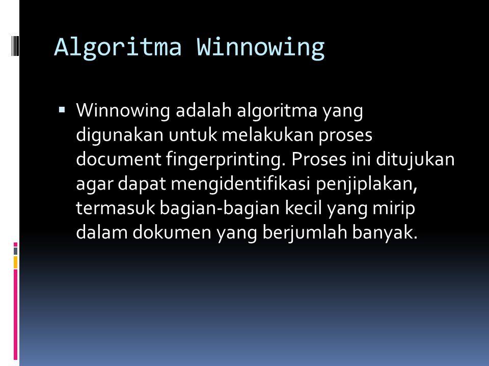 Algoritma Winnowing  Winnowing adalah algoritma yang digunakan untuk melakukan proses document fingerprinting. Proses ini ditujukan agar dapat mengid