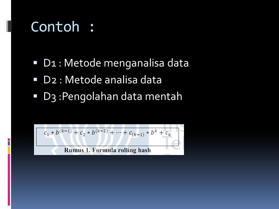 Contoh :  D1 : Metode menganalisa data  D2 : Metode analisa data  D3 :Pengolahan data mentah