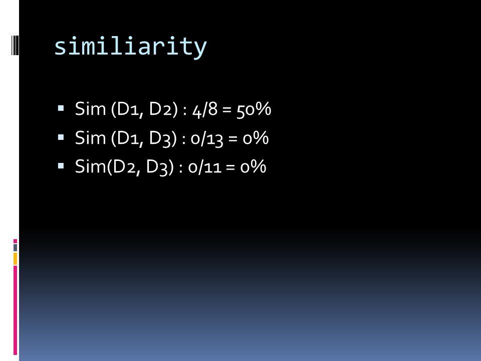 similiarity  Sim (D1, D2) : 4/8 = 50%  Sim (D1, D3) : 0/13 = 0%  Sim(D2, D3) : 0/11 = 0%