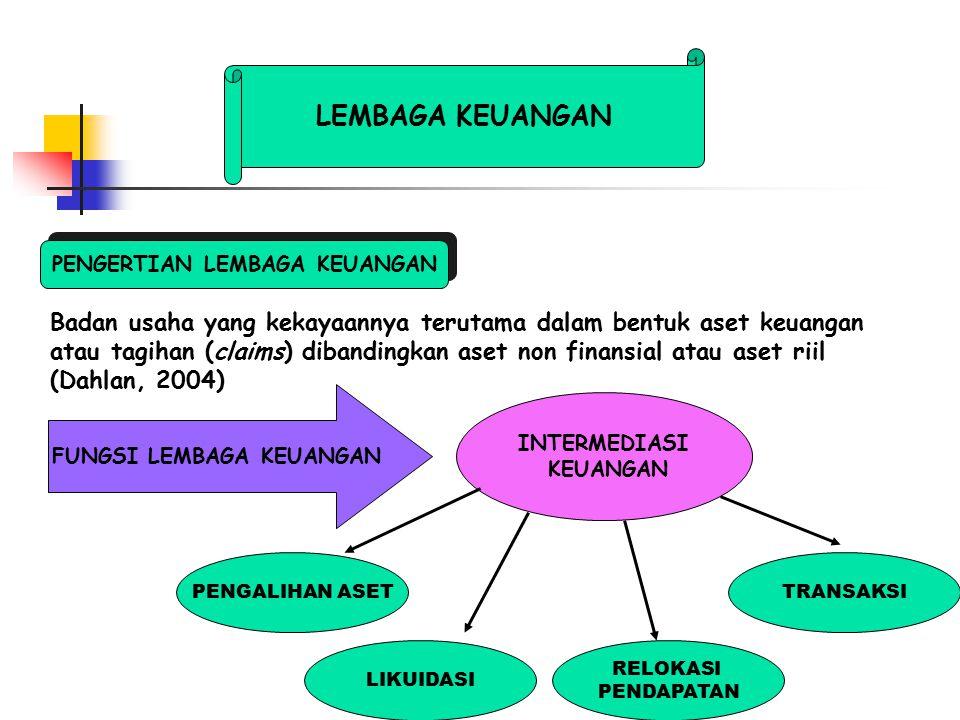 LEMBAGA KEUANGAN Badan usaha yang kekayaannya terutama dalam bentuk aset keuangan atau tagihan (claims) dibandingkan aset non finansial atau aset riil