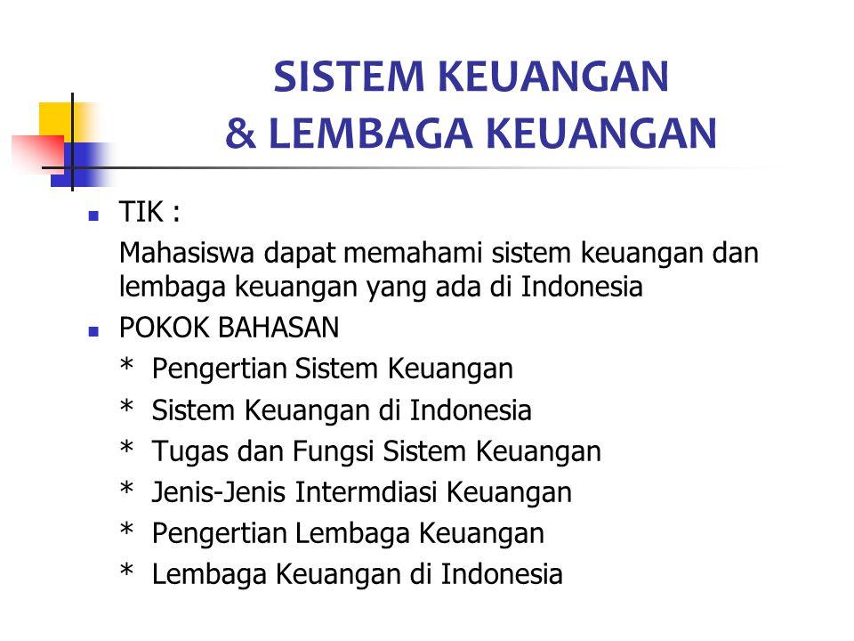SISTEM KEUANGAN & LEMBAGA KEUANGAN TIK : Mahasiswa dapat memahami sistem keuangan dan lembaga keuangan yang ada di Indonesia POKOK BAHASAN * Pengertia