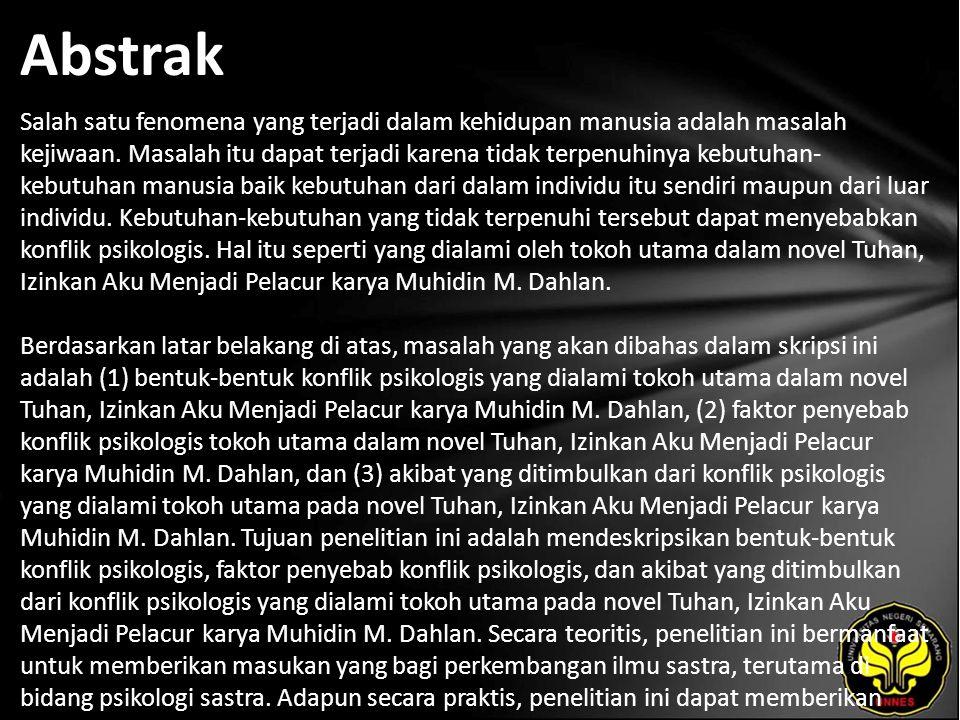 Kata Kunci Konflik Psikologis, Tokoh Utama, Novel