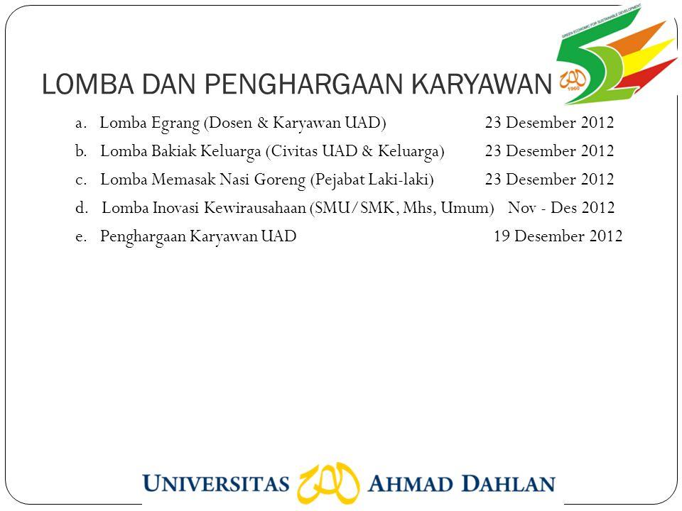 LOMBA DAN PENGHARGAAN KARYAWAN a. Lomba Egrang (Dosen & Karyawan UAD)23 Desember 2012 b.
