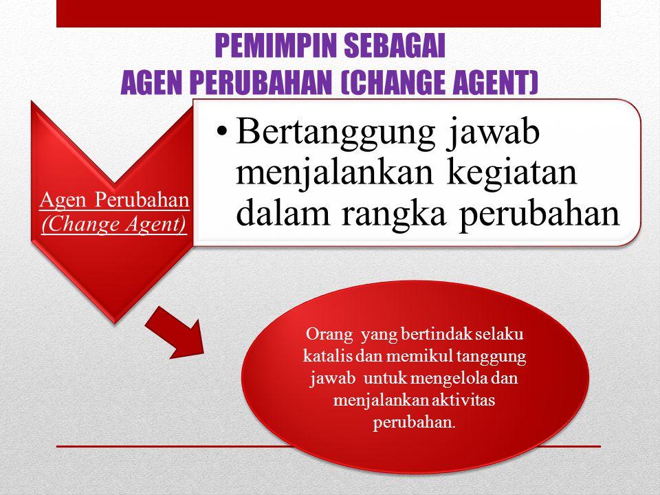 PEMIMPIN SEBAGAI AGEN PERUBAHAN (CHANGE AGENT) Agen Perubahan (Change Agent) Bertanggung jawab menjalankan kegiatan dalam rangka perubahan Orang yang
