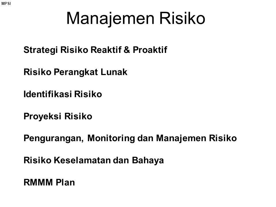 Manajemen Risiko Strategi Risiko Reaktif & Proaktif Risiko Perangkat Lunak Identifikasi Risiko Proyeksi Risiko Pengurangan, Monitoring dan Manajemen Risiko Risiko Keselamatan dan Bahaya RMMM Plan MPSI