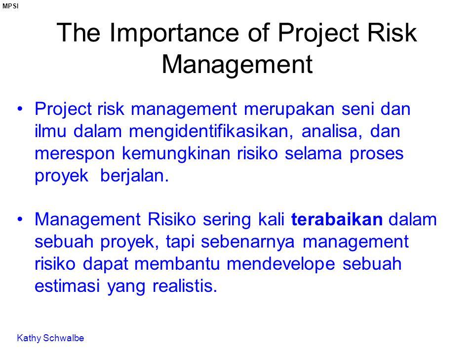 The Importance of Project Risk Management Project risk management merupakan seni dan ilmu dalam mengidentifikasikan, analisa, dan merespon kemungkinan risiko selama proses proyek berjalan.