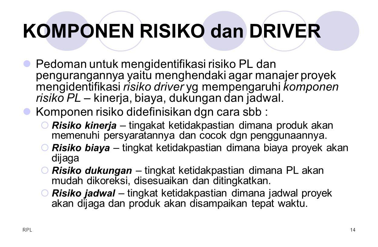 RPL14 KOMPONEN RISIKO dan DRIVER Pedoman untuk mengidentifikasi risiko PL dan pengurangannya yaitu menghendaki agar manajer proyek mengidentifikasi ri