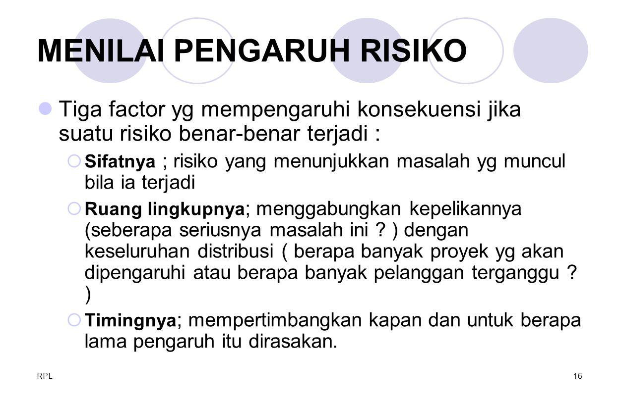 RPL16 MENILAI PENGARUH RISIKO Tiga factor yg mempengaruhi konsekuensi jika suatu risiko benar-benar terjadi :  Sifatnya ; risiko yang menunjukkan mas