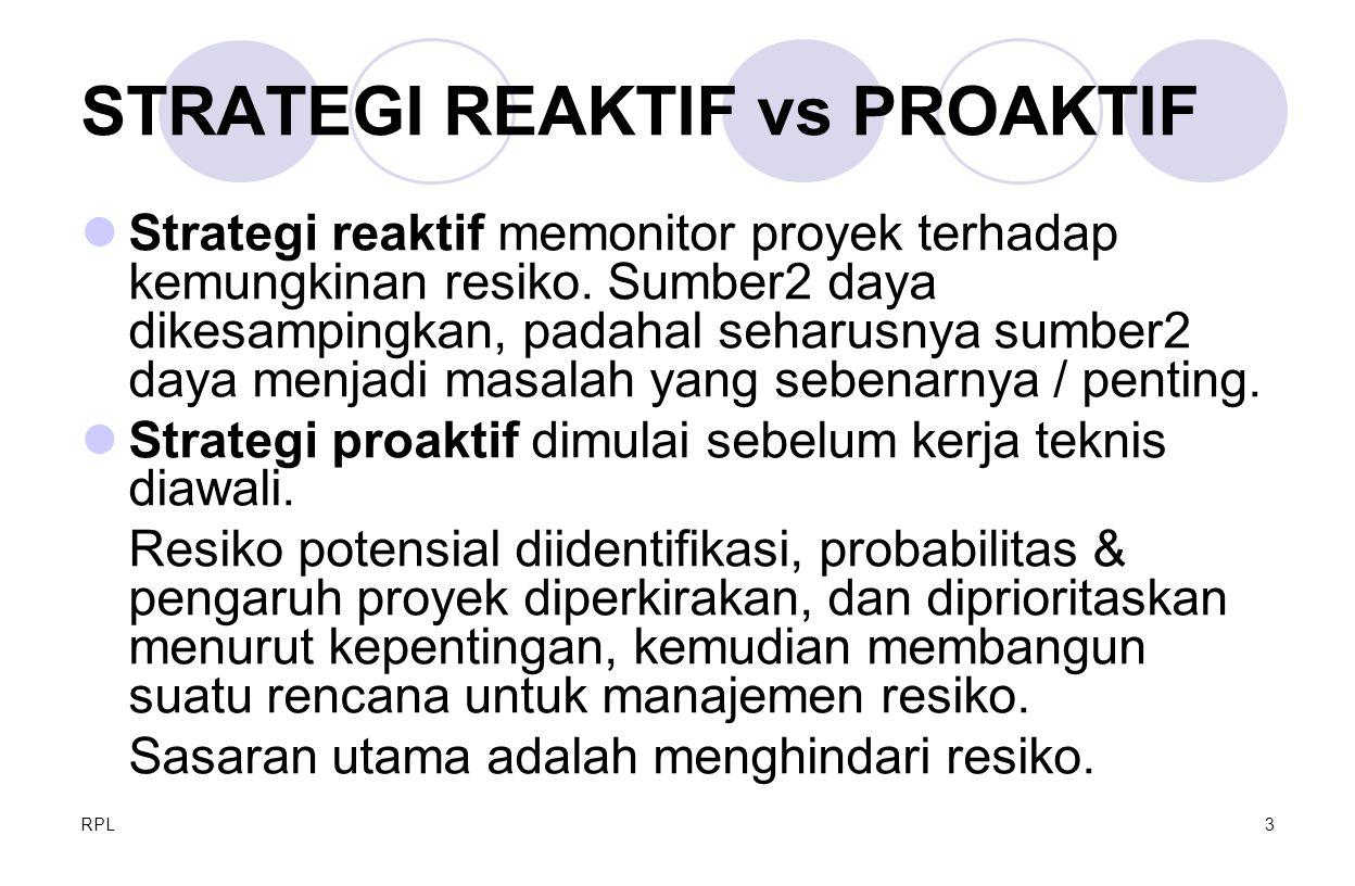 RPL3 STRATEGI REAKTIF vs PROAKTIF Strategi reaktif memonitor proyek terhadap kemungkinan resiko. Sumber2 daya dikesampingkan, padahal seharusnya sumbe