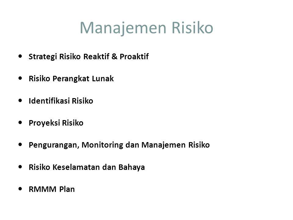 Manajemen Risiko Strategi Risiko Reaktif & Proaktif Risiko Perangkat Lunak Identifikasi Risiko Proyeksi Risiko Pengurangan, Monitoring dan Manajemen Risiko Risiko Keselamatan dan Bahaya RMMM Plan