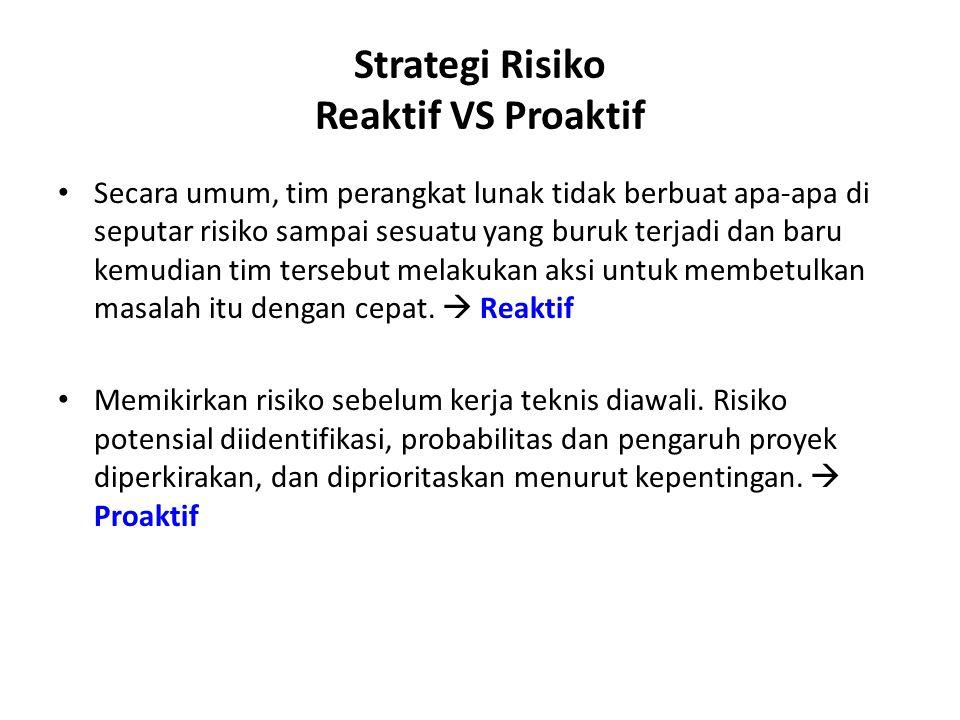 Strategi Risiko Reaktif VS Proaktif Secara umum, tim perangkat lunak tidak berbuat apa-apa di seputar risiko sampai sesuatu yang buruk terjadi dan baru kemudian tim tersebut melakukan aksi untuk membetulkan masalah itu dengan cepat.