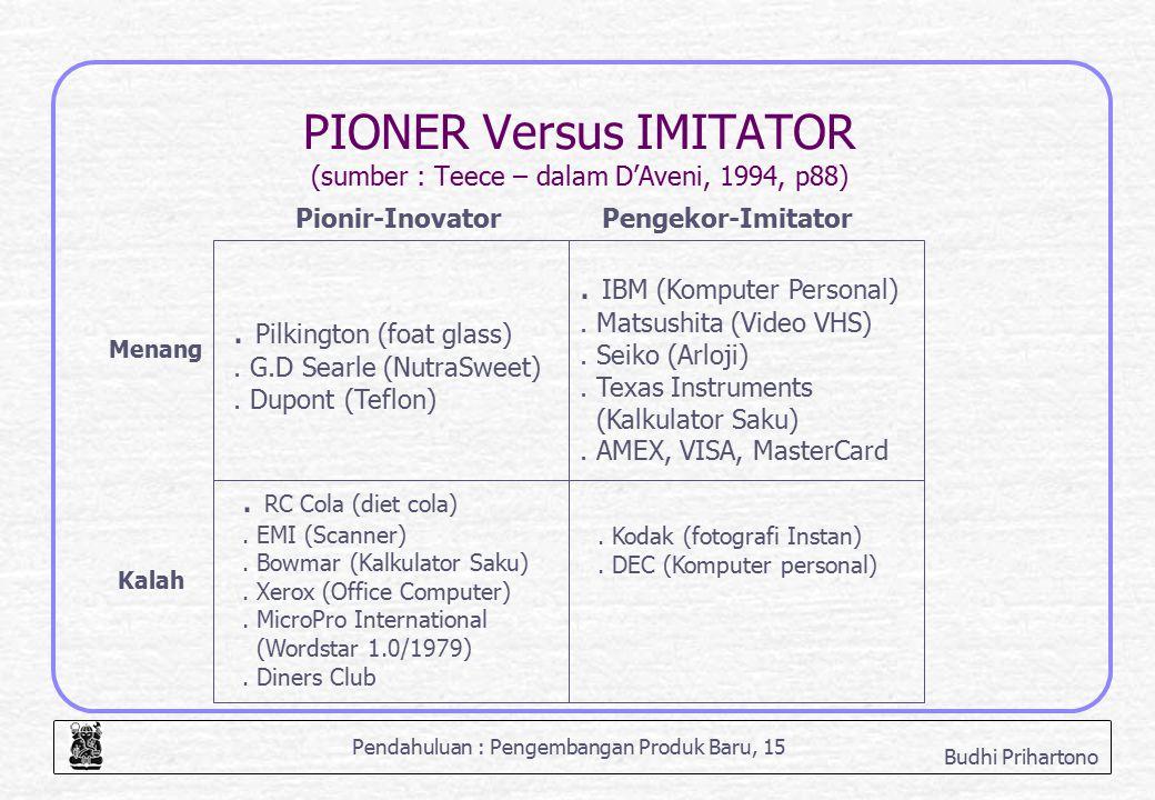 Pendahuluan : Pengembangan Produk Baru, 15 Budhi Prihartono PIONER Versus IMITATOR (sumber : Teece – dalam D'Aveni, 1994, p88). Pilkington (foat glass