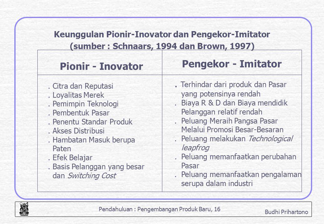 Pendahuluan : Pengembangan Produk Baru, 16 Budhi Prihartono Keunggulan Pionir-Inovator dan Pengekor-Imitator (sumber : Schnaars, 1994 dan Brown, 1997)