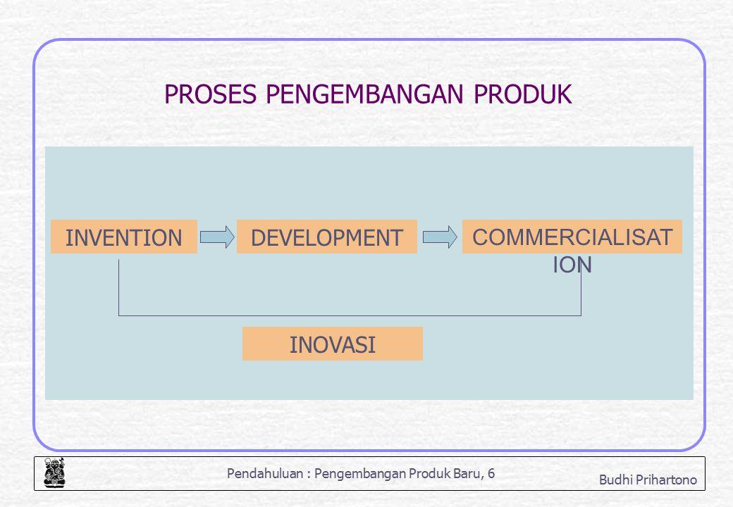 Pendahuluan : Pengembangan Produk Baru, 17 Budhi Prihartono TOTAL PRODUCT CONCEPT Potential Product Generic Product Augmented Product Expected Product