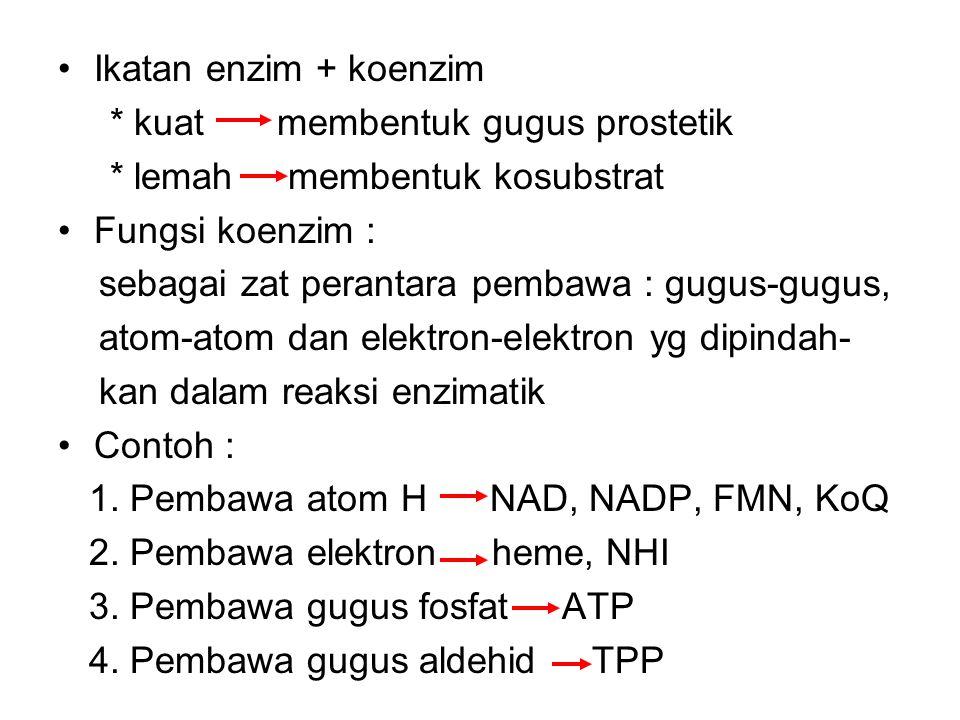 KOENZIM KOENZIM + APOENZIM HOLOENZIM (nonprotein + protein) protein Kofaktor yg berupa katalitik aktif Senyawa organik non Protein yg spesifik APOENZI