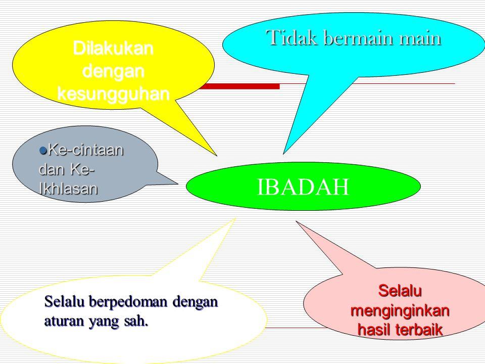 IBADAH Tidak bermain main Dilakukan dengan kesungguhan Selalu menginginkan hasil terbaik Ke-cintaan dan Ke- Ikhlasan Ke-cintaan dan Ke- Ikhlasan Selal