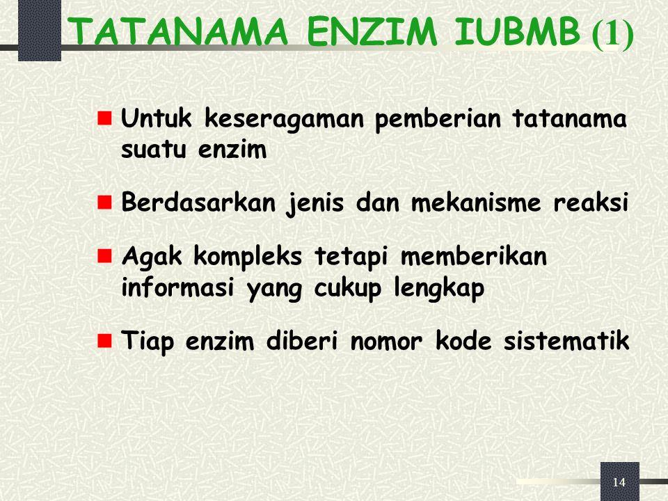 14 TATANAMA ENZIM IUBMB (1) Untuk keseragaman pemberian tatanama suatu enzim Berdasarkan jenis dan mekanisme reaksi Agak kompleks tetapi memberikan in