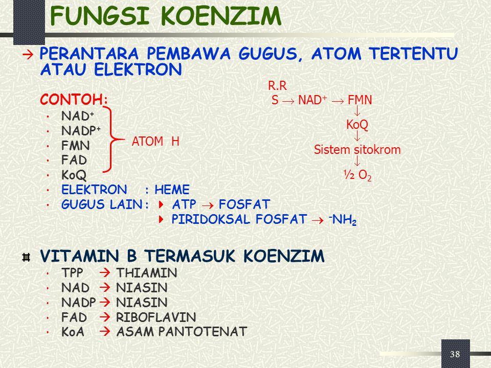 38 FUNGSI KOENZIM  PERANTARA PEMBAWA GUGUS, ATOM TERTENTU ATAU ELEKTRON CONTOH: NAD + NADP + FMN FAD KoQ ELEKTRON:HEME GUGUS LAIN:  ATP  FOSFAT  P
