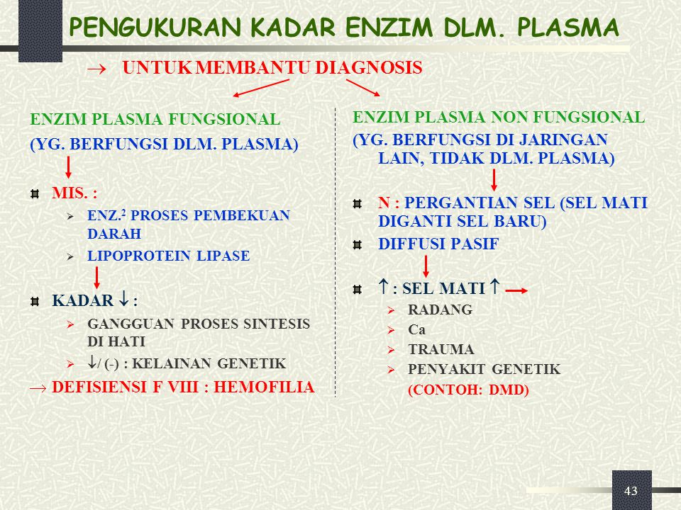 43 PENGUKURAN KADAR ENZIM DLM. PLASMA ENZIM PLASMA FUNGSIONAL (YG. BERFUNGSI DLM. PLASMA) MIS. :  ENZ. 2 PROSES PEMBEKUAN DARAH  LIPOPROTEIN LIPASE