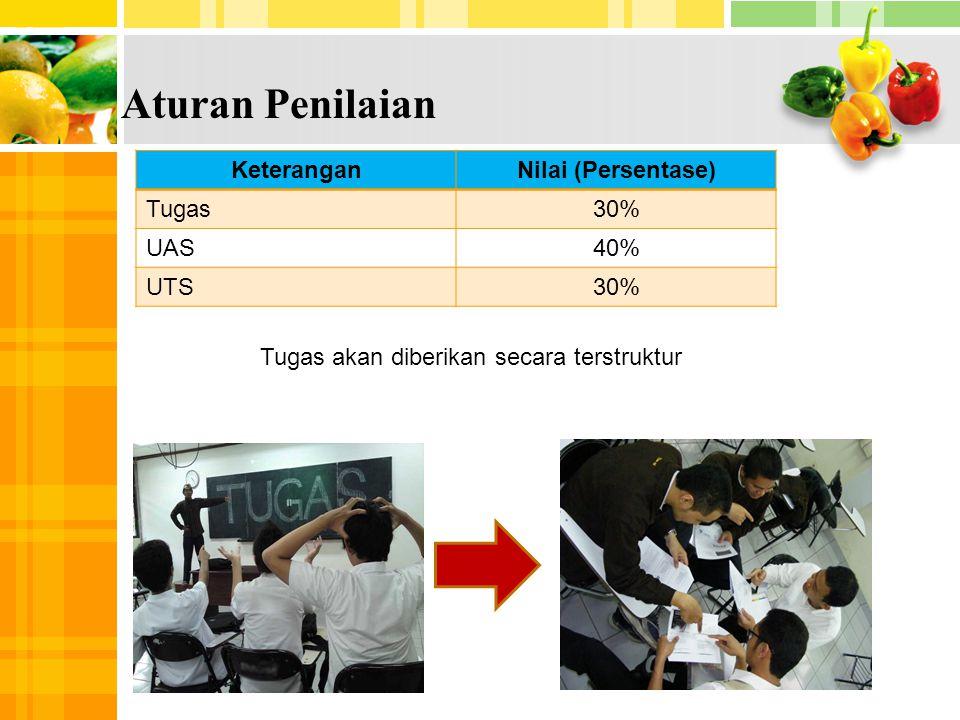 1 4 Aturan Penilaian KeteranganNilai (Persentase) Tugas30% UAS40% UTS30% Tugas akan diberikan secara terstruktur