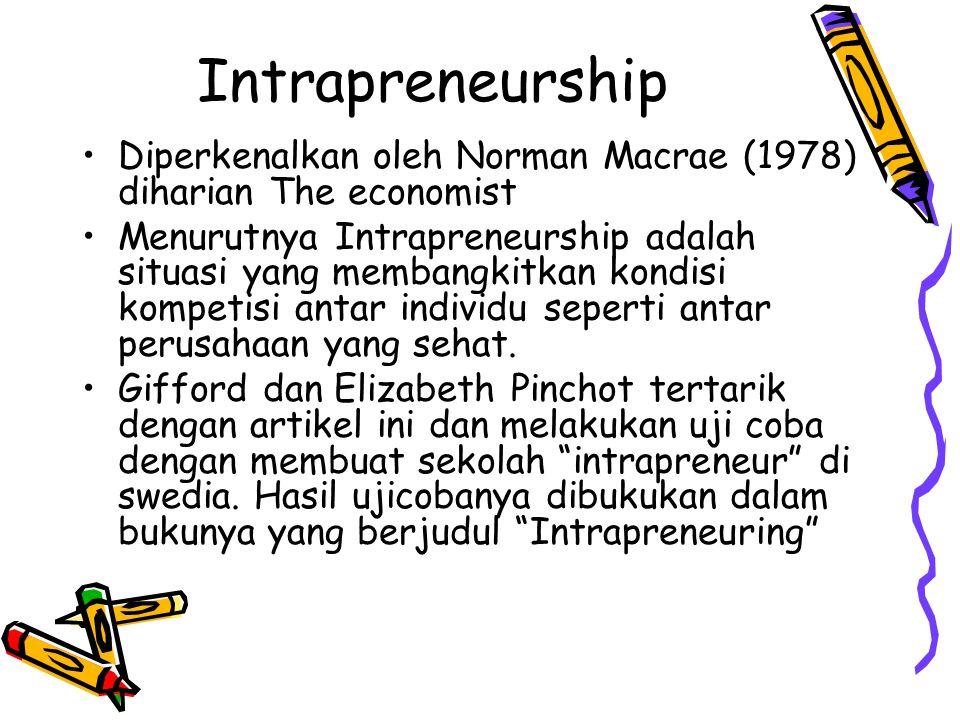 Intrapreneurship Diperkenalkan oleh Norman Macrae (1978) diharian The economist Menurutnya Intrapreneurship adalah situasi yang membangkitkan kondisi
