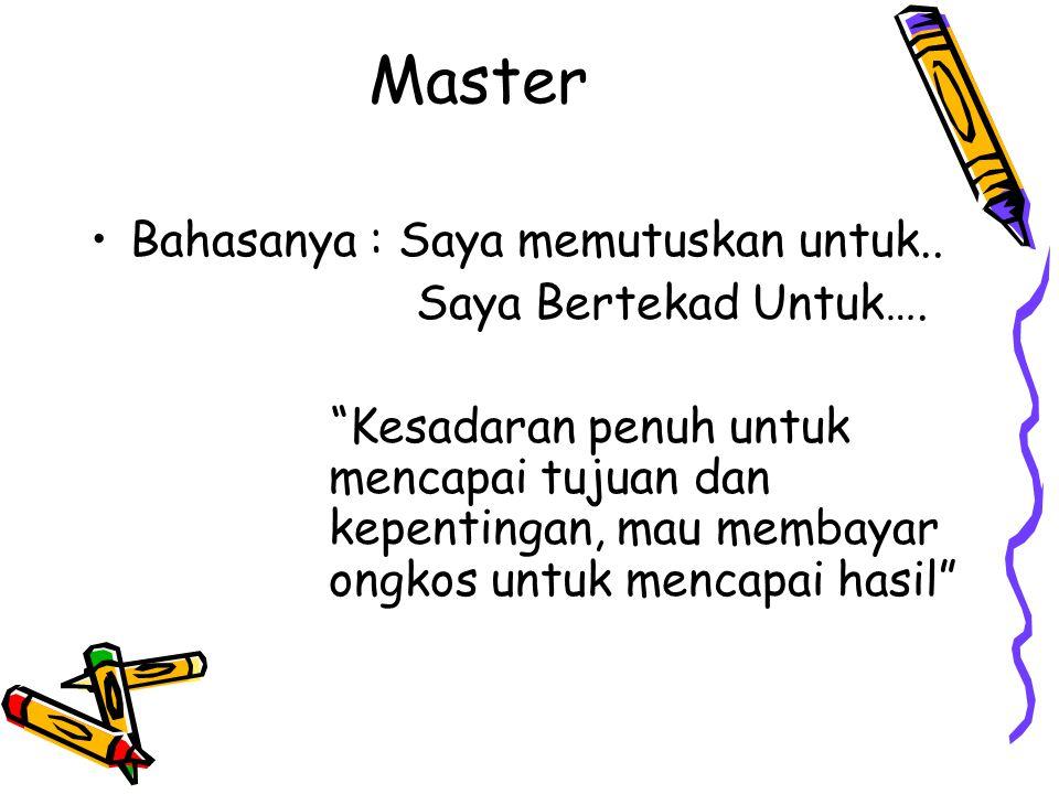 "Master Bahasanya : Saya memutuskan untuk.. Saya Bertekad Untuk…. ""Kesadaran penuh untuk mencapai tujuan dan kepentingan, mau membayar ongkos untuk men"