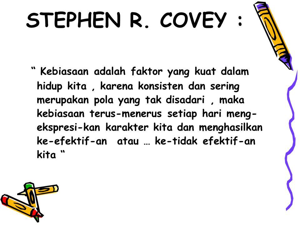 """STEPHEN R. COVEY : """" Kebiasaan adalah faktor yang kuat dalam hidup kita, karena konsisten dan sering merupakan pola yang tak disadari, maka kebiasaan"""