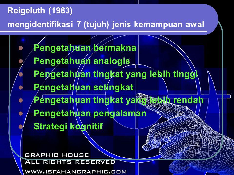 Reigeluth (1983) mengidentifikasi 7 (tujuh) jenis kemampuan awal Pengetahuan bermakna Pengetahuan analogis Pengetahuan tingkat yang lebih tinggi Pengetahuan setingkat Pengetahuan tingkat yang lebih rendah Pengetahuan pengalaman Strategi kognitif