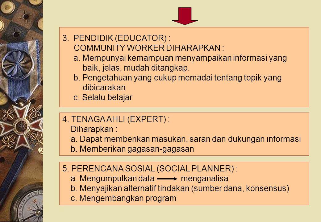 3.PENDIDIK (EDUCATOR) : COMMUNITY WORKER DIHARAPKAN : a. Mempunyai kemampuan menyampaikan informasi yang baik, jelas, mudah ditangkap. b. Pengetahuan