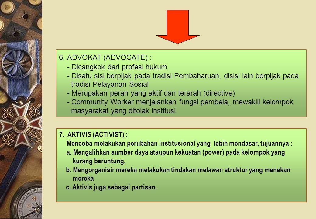 7. AKTIVIS (ACTIVIST) : Mencoba melakukan perubahan institusional yang lebih mendasar, tujuannya : a. Mengalihkan sumber daya ataupun kekuatan (power)