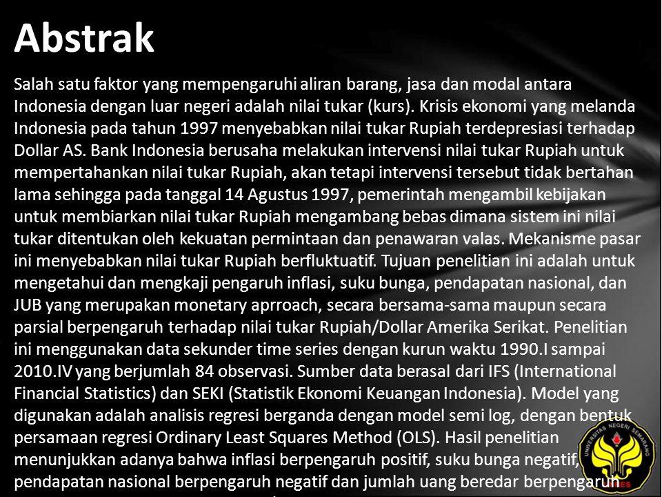 Abstrak Salah satu faktor yang mempengaruhi aliran barang, jasa dan modal antara Indonesia dengan luar negeri adalah nilai tukar (kurs).